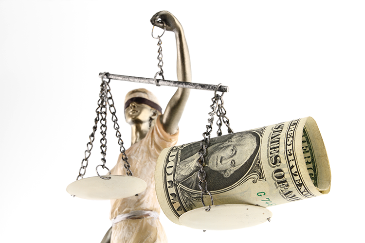 Lady Justice holding unequal scales balanced with money
