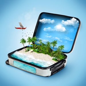 Suitcase with beach inside