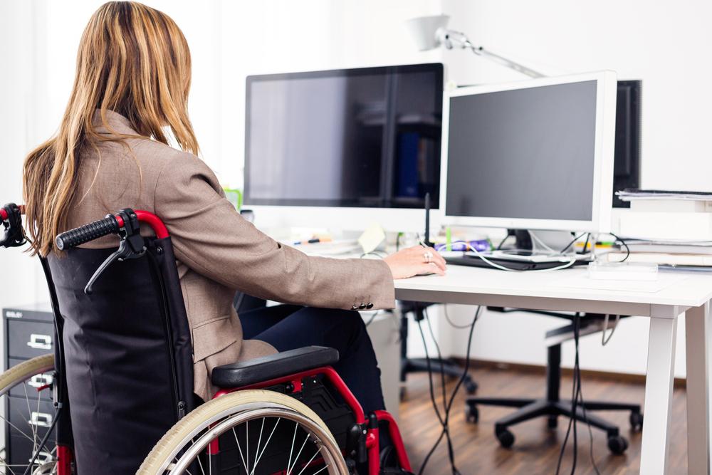 wheelchair woman office