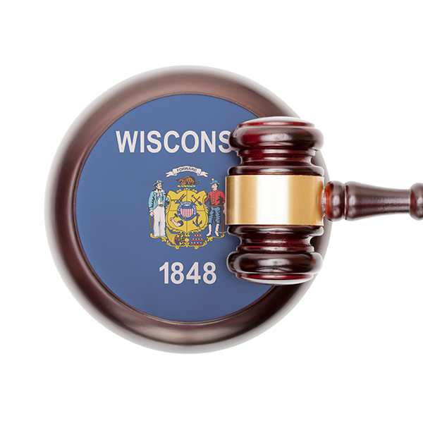 Wisconsin flag and gavel