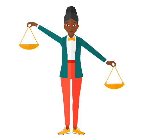 Woman lawyer holding scales