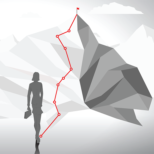woman on charted path up a mountain.