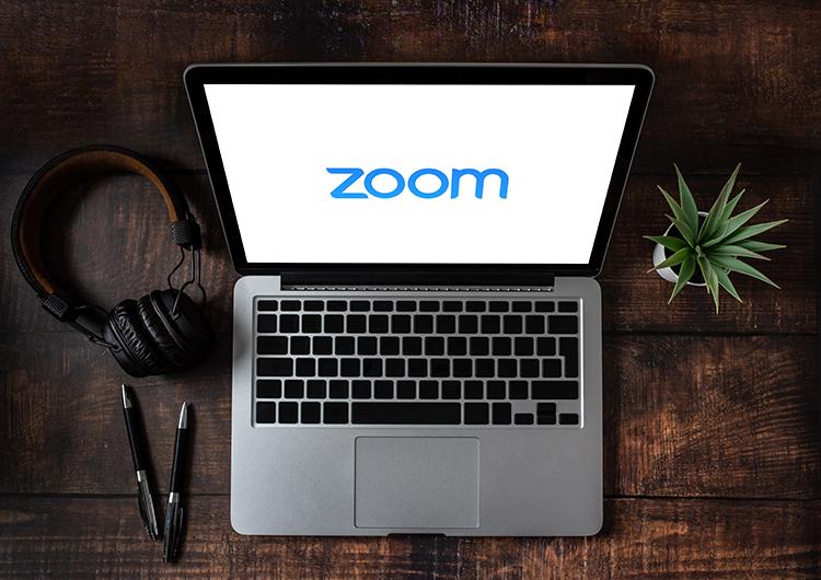 Zoom logo on a laptop screen